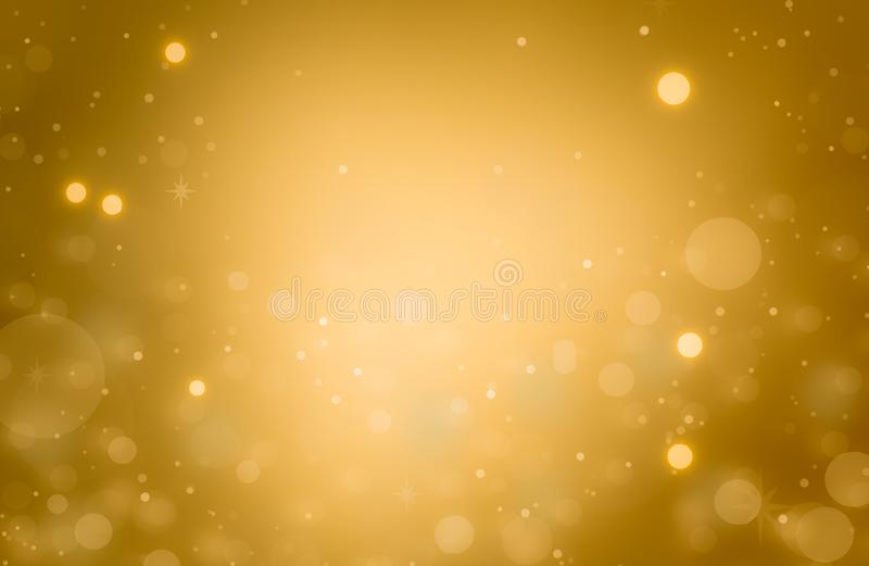 Christmas glowing Golden Background. Christmas lights. Gold Holiday New year Abstract Glitter Defocused Background With Blinking stock illustration