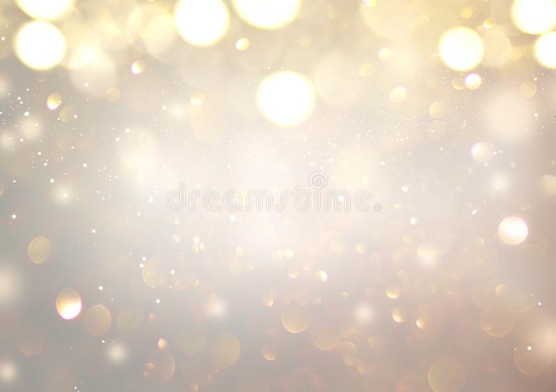 Christmas glowing Golden Background. Christmas lights. Gold Holiday New year Abstract Glitter Defocused Background vector illustration
