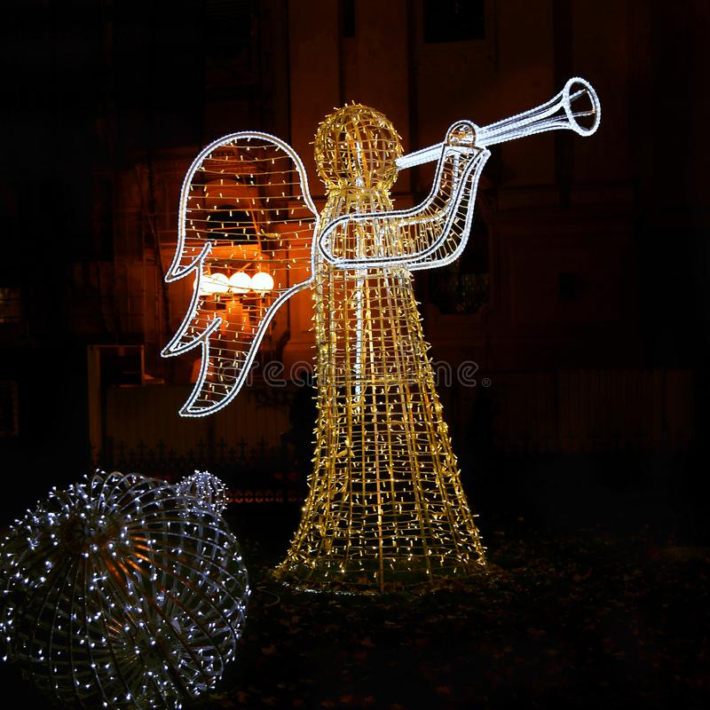 Christmas glowing scenery in the form of an angel. In evening Prague, Czech Republic royalty free stock photos