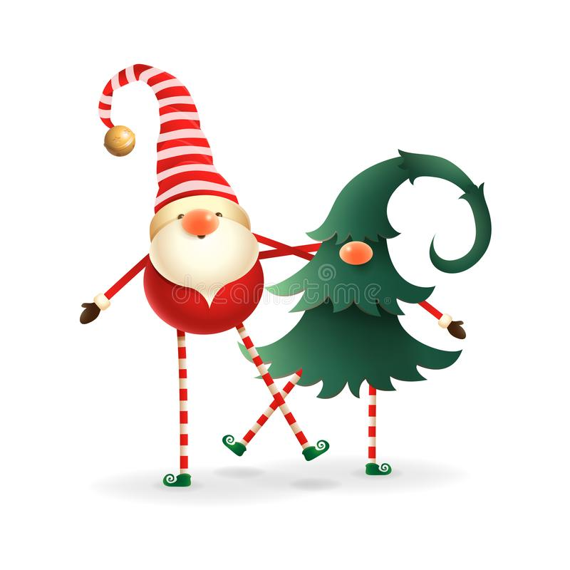 Christmas gnomes. Cute happy two friends - one hidden in christmas tree stock illustration