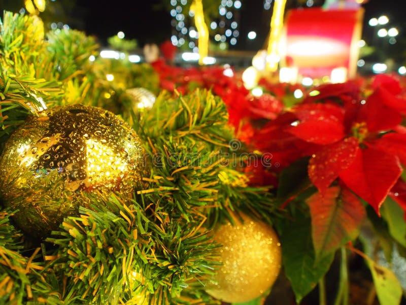 Christmas gold balls with light stock photo