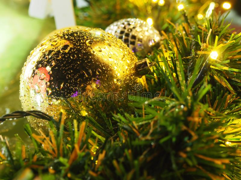 Christmas gold balls with light royalty free stock images
