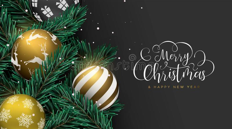 Christmas gold baubles on pine tree greeting card vector illustration