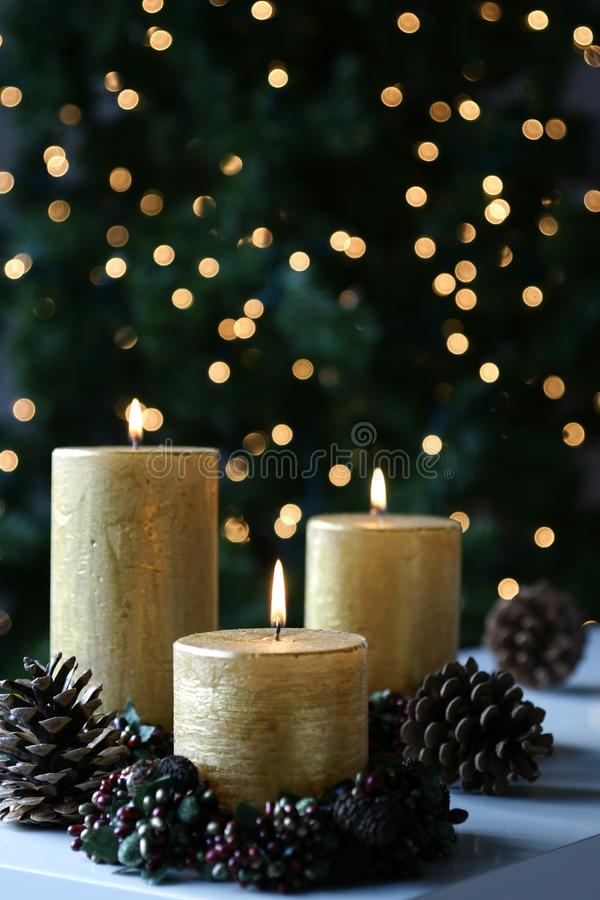 Christmas Gold Candles Xmas royalty free stock photography