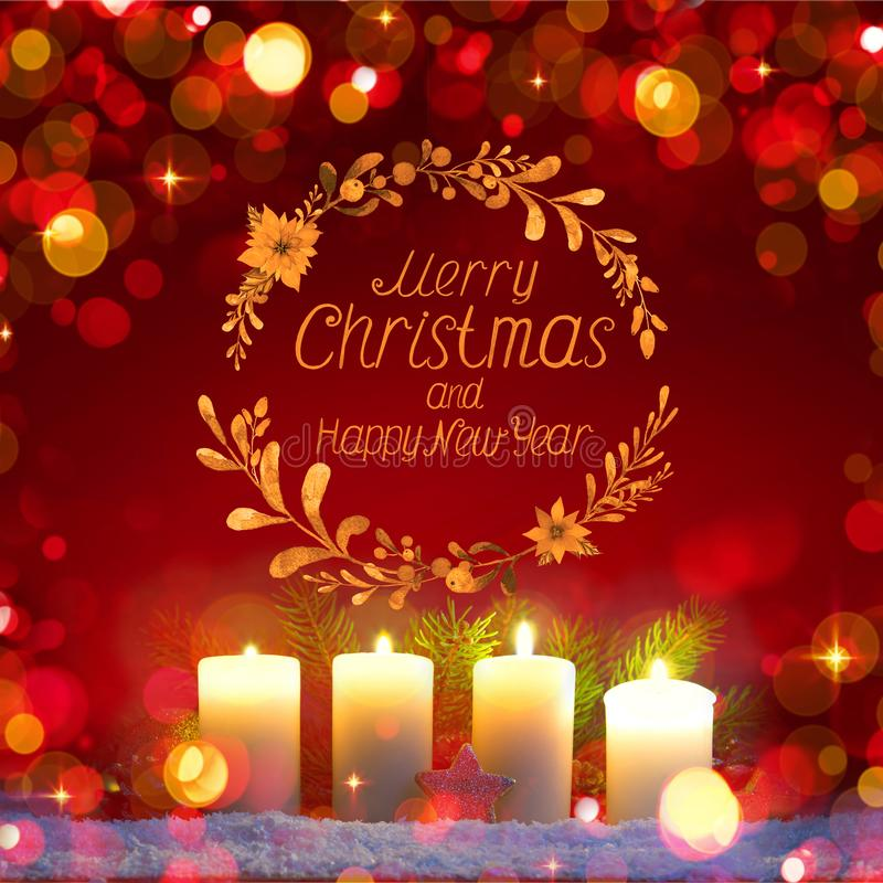 Four burning Advent candles and decoration. . Christmas background. stock illustration
