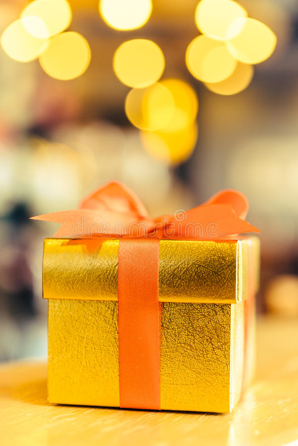 Christmas gold gift box stock photos
