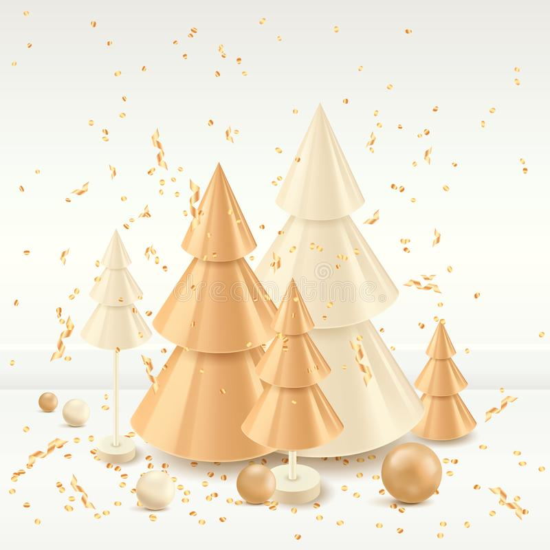 Christmas gold holiday design elements. Vector 3d illustration of golden Christmas tree. Luxury modern New Years toys royalty free illustration