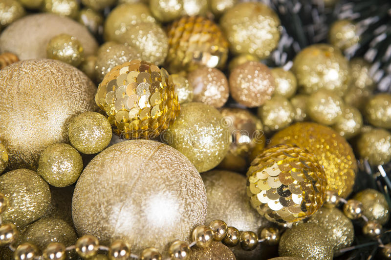 Christmas gold matte balls like a background. royalty free stock image
