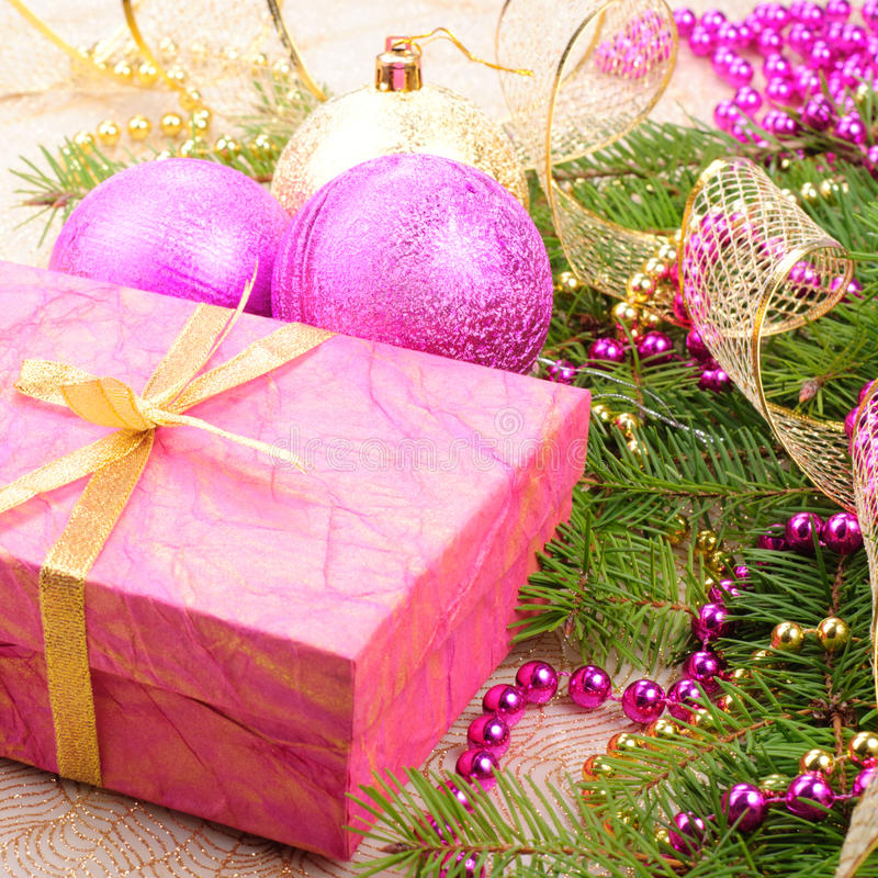 Christmas gold and pink with pine royalty free stock photography
