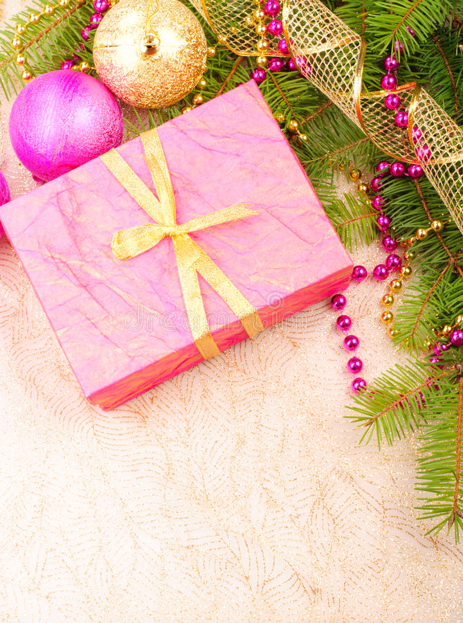 Christmas gold and pink with pine branch royalty free stock photos