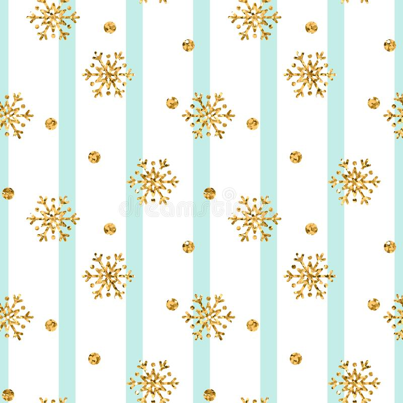 Christmas gold snowflake seamless pattern. Golden glitter snowflakes on blue white lines background. Winter snow texture. Design wallpaper Symbol holiday, New stock illustration