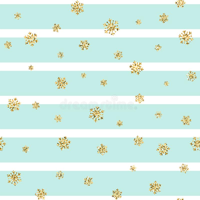 Christmas gold snowflake seamless pattern. Golden glitter snowflakes on blue white lines background. Winter snow texture royalty free illustration
