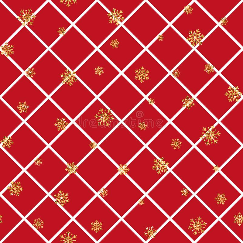 Christmas gold snowflake seamless pattern. Golden snowflakes on red and white rhombus background. Winter snow texture royalty free illustration