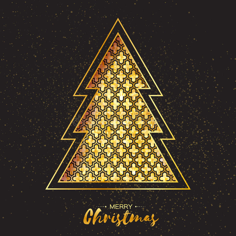 Free Christmas Gold Tree. Greeting Card. Happy New Year Royalty Free Stock Photography - 79348367