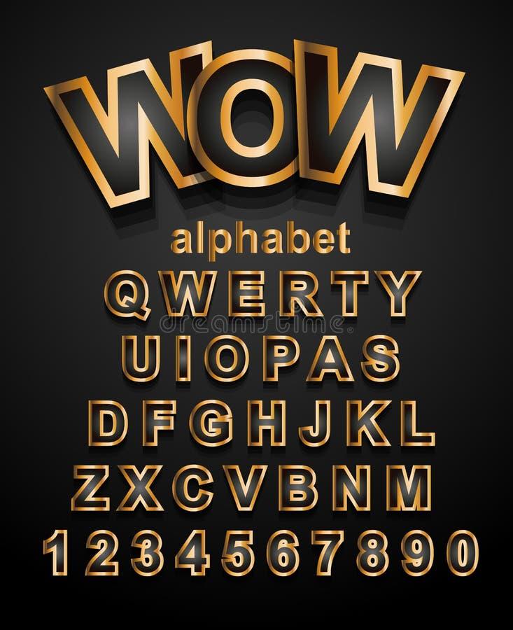 Christmas Golden Alphapet Font to use for children's parties vector illustration