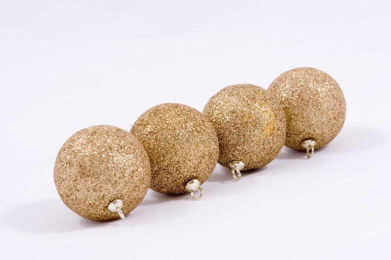 Download Christmas golden baubles stock image. Image of four, season - 3703257