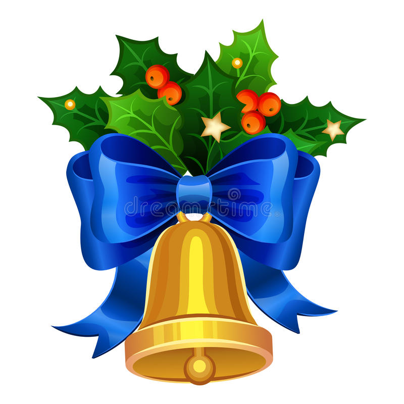 Christmas golden bell with blue bow and Holly berries. Vector vector illustration