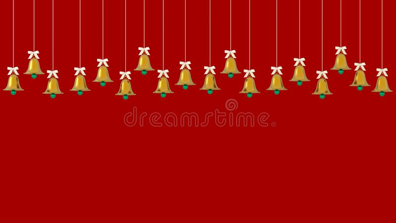 Christmas golden bells ornaments hanging on red background. picture copy space for art work design ad or add text message. Holiday. Concept, new year. minimal royalty free illustration
