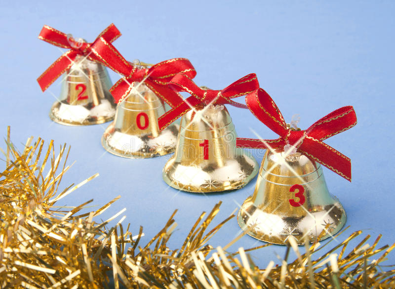 Download Christmas Golden Bells And Red Ribbon Stock Photo - Image: 27541186