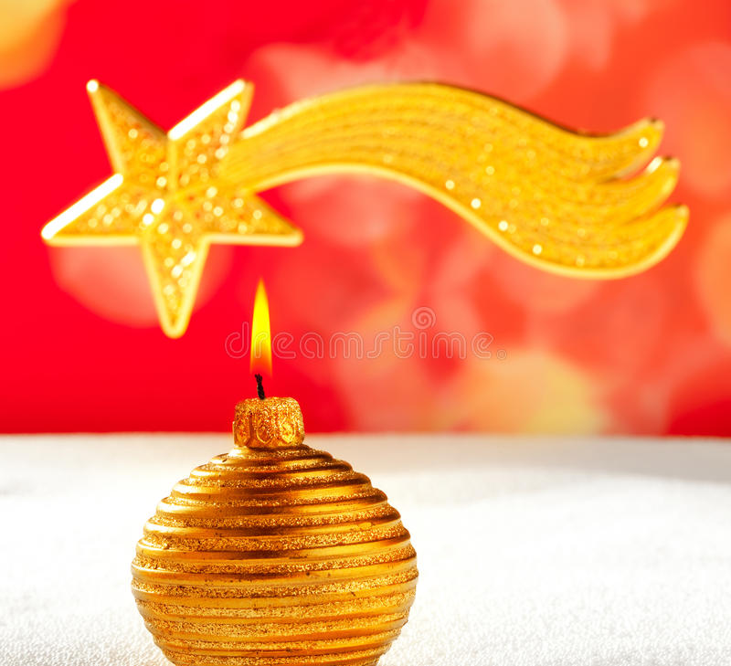 Download Christmas Golden Candle And Bethlehem Star Stock Photo - Image: 21910632