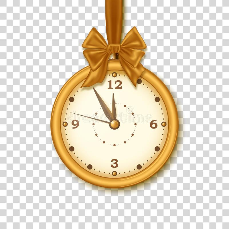 Christmas golden clock with ribbon and bow isolated on the transparent background. Five minutes to midnight. Vector stock illustration