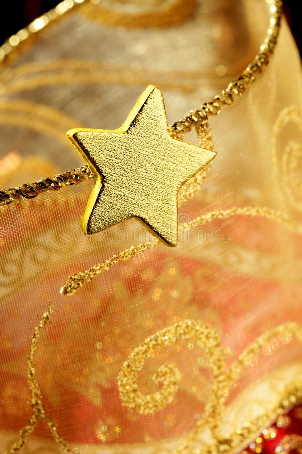 Download Christmas Golden Decoration With Gold Star Stock Image - Image: 7557799