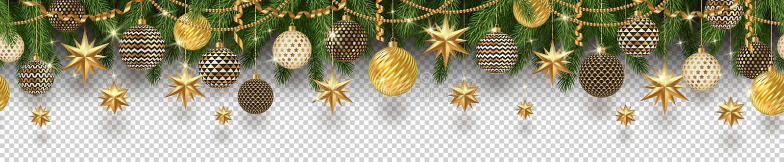 Christmas golden decoration and Christmas tree branches on a checkered background. Can be used on any background. Seamless frieze. royalty free illustration