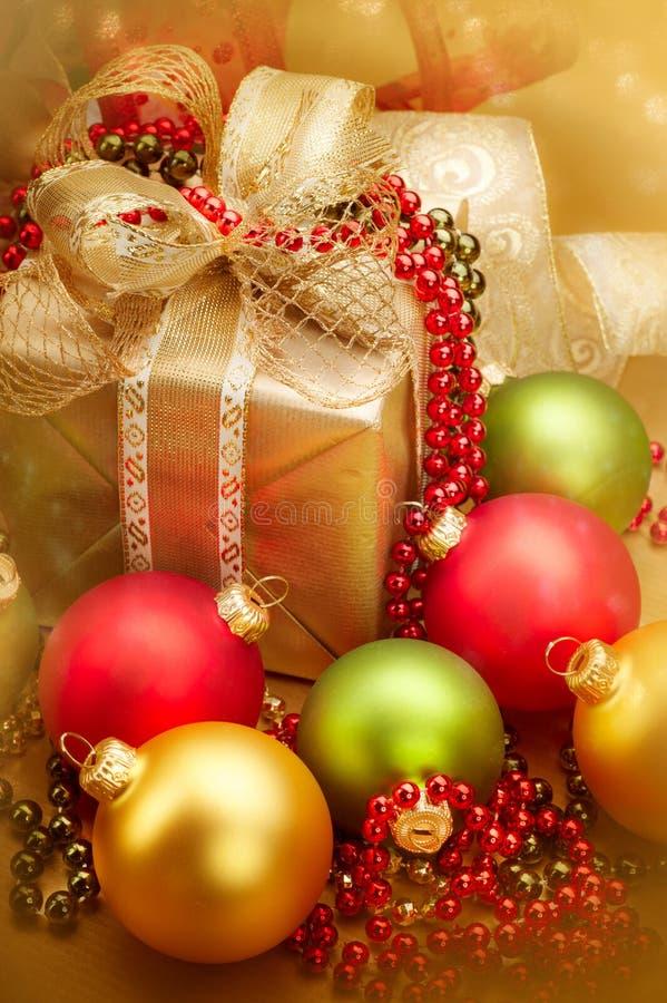 Christmas golden gift box stock photography