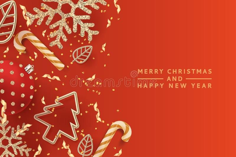 Christmas golden holiday decoration. Vector 3d illustration of Christmas tree, snowflakes, balls and gold metal leaves vector illustration