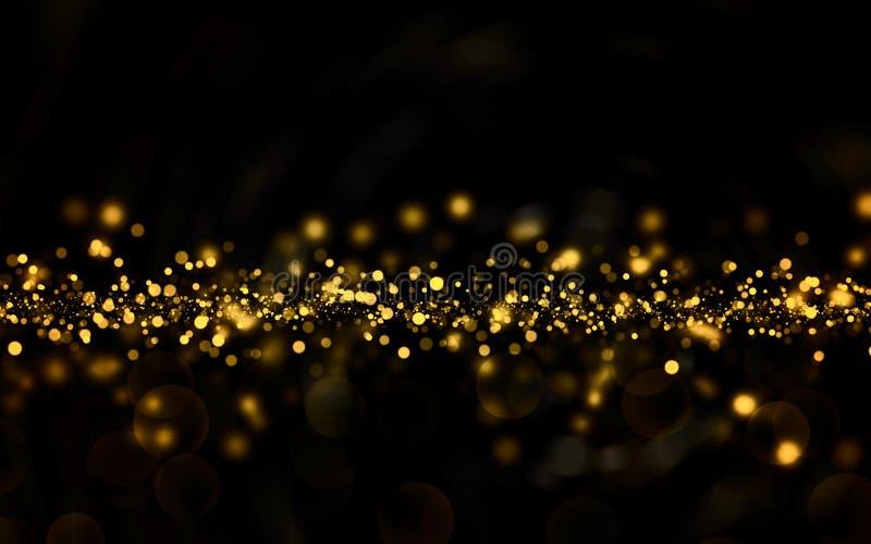 Christmas golden light shine particles bokeh on black background, holiday. Illustration vector illustration