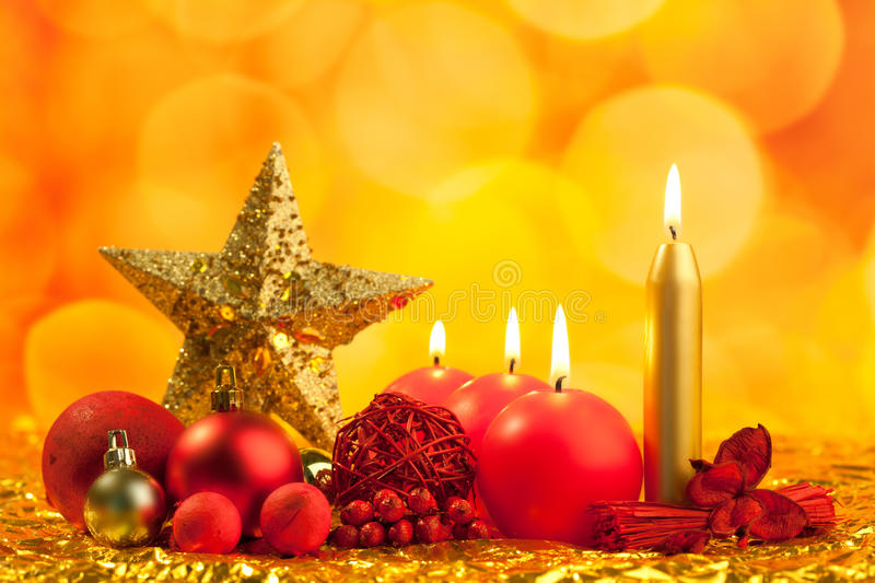 Download Christmas Golden Star With Red Candles Stock Photography - Image: 21386412