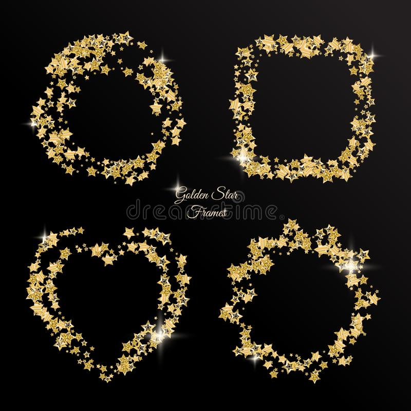 Christmas golden stars vector frames and borders collection stock image
