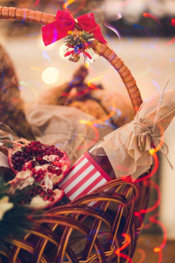 Christmas goods basket holiday food royalty free stock photos