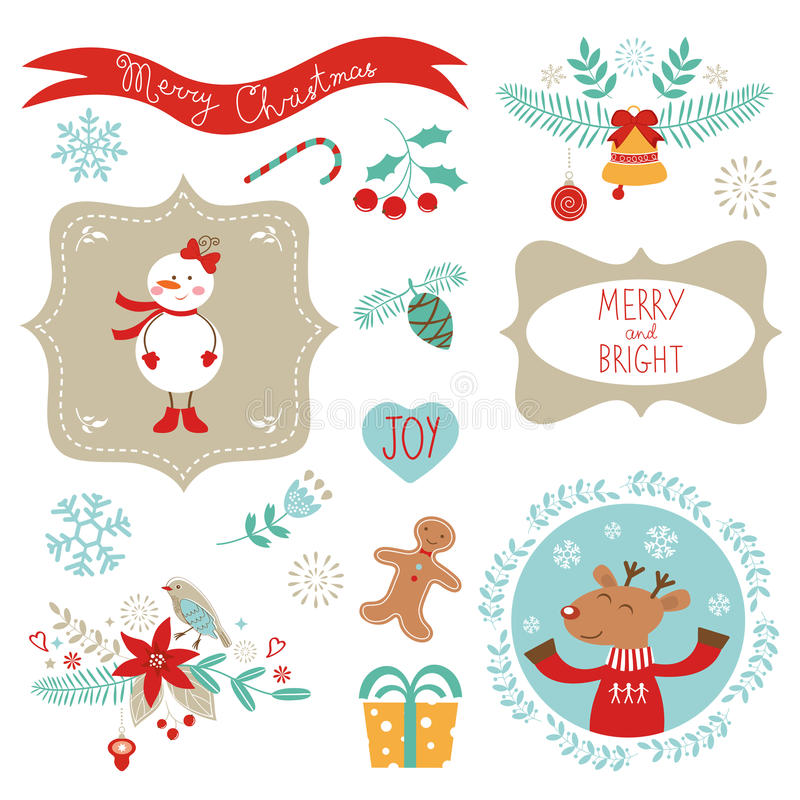 Christmas graphic elements stock illustration