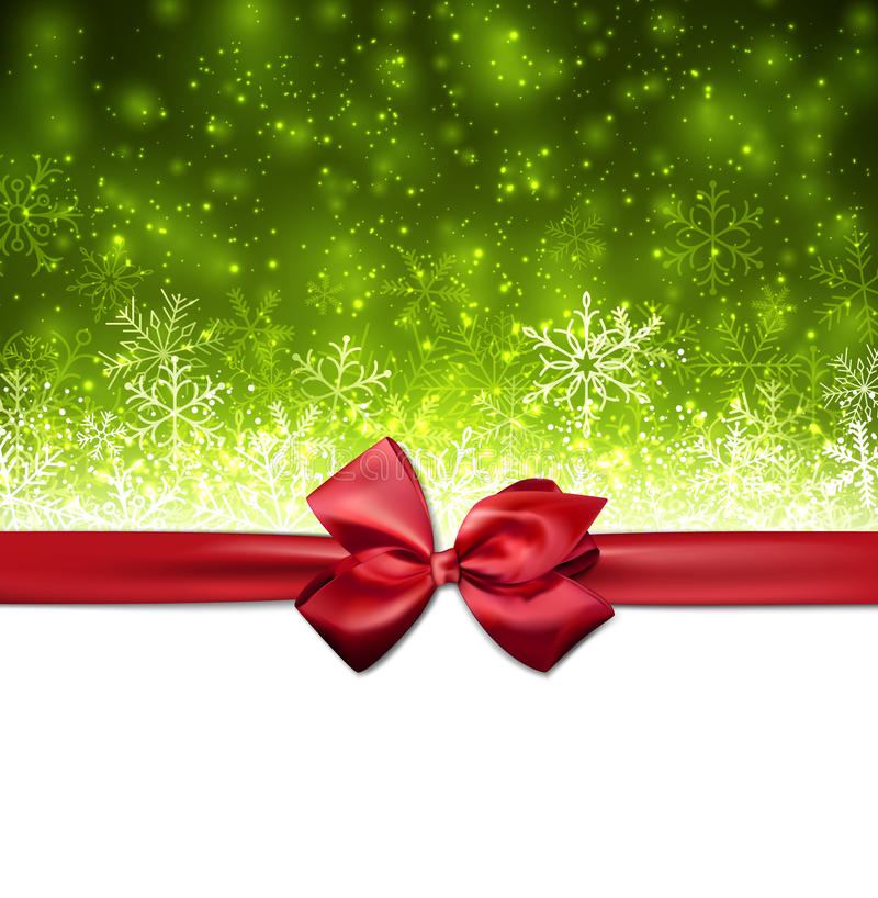 Christmas green abstract background. Green winter abstract background. Christmas background with snowflakes and red gift bow. Vector vector illustration