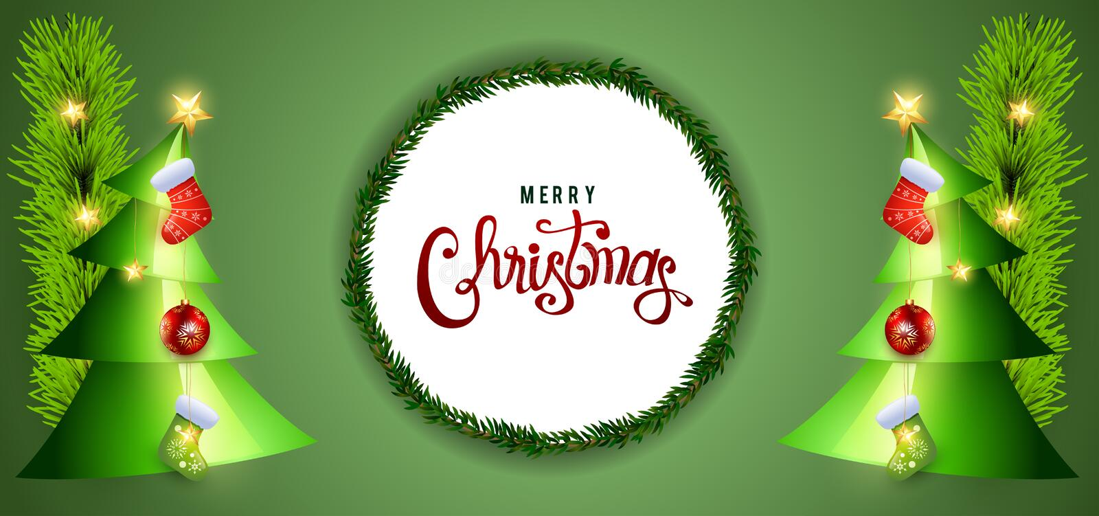 Christmas green background design. Christmas and happy new year green background design, holiday, xmas, abstract, wallpaper, illustration, snow, celebration royalty free stock photography