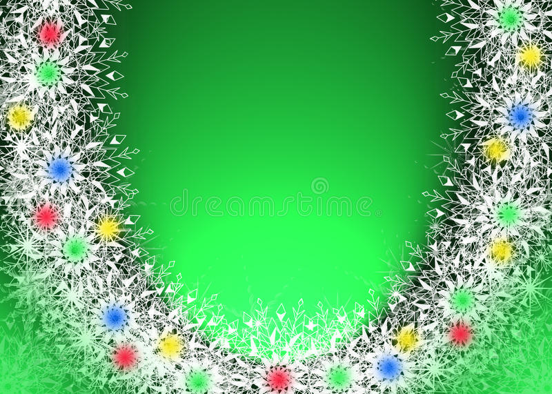 Christmas green background with snowflakes stock photos
