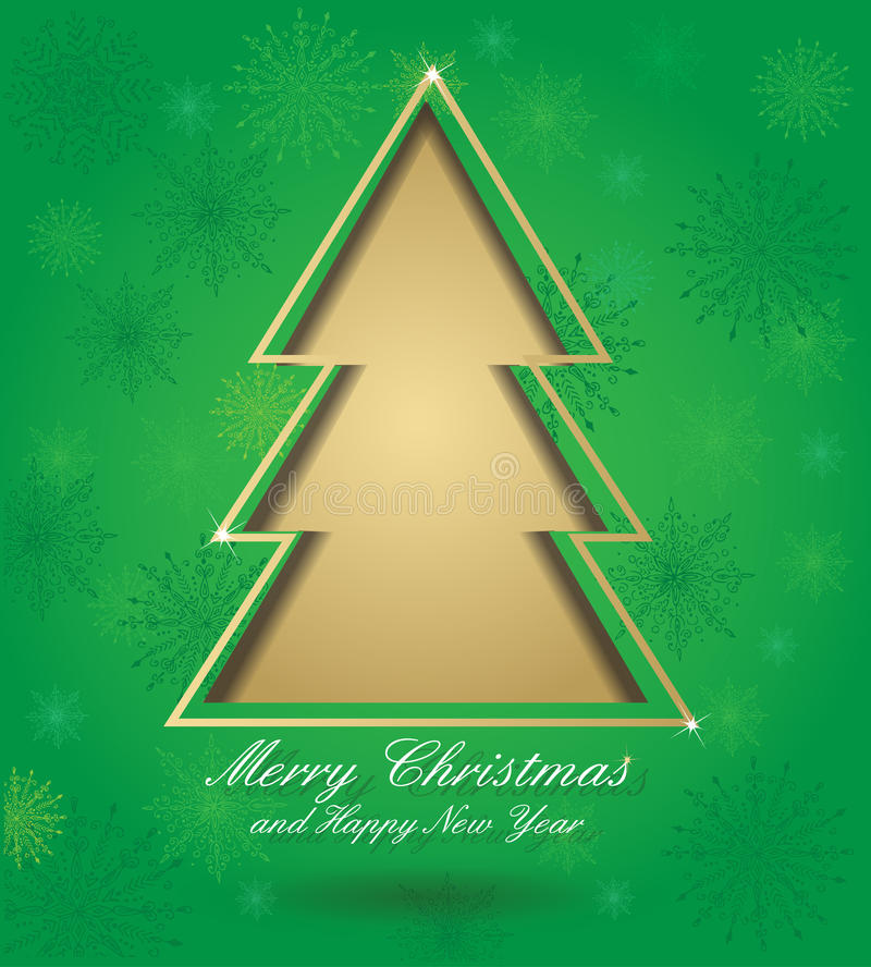 Christmas green card with tree royalty free illustration