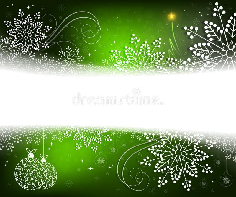 Christmas green design with white, elegant snowflakes, abstract little Christmas tree and balls in retro style royalty free illustration