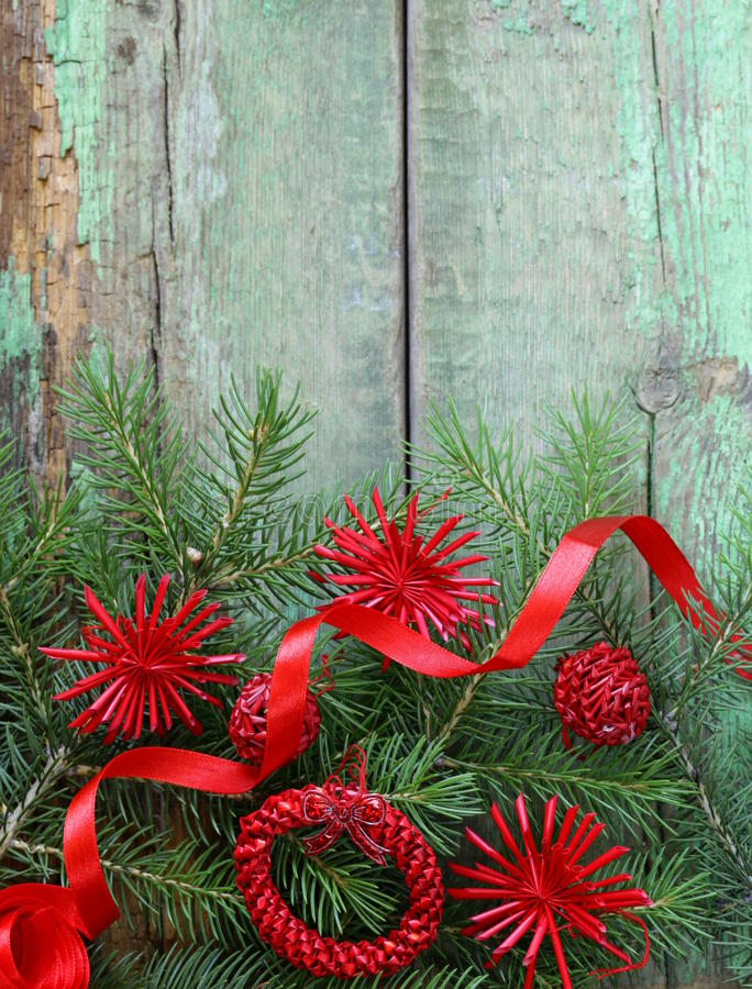 Christmas Green Fir Tree Branches With Decorations Stock Photo - Image of background, plank ...