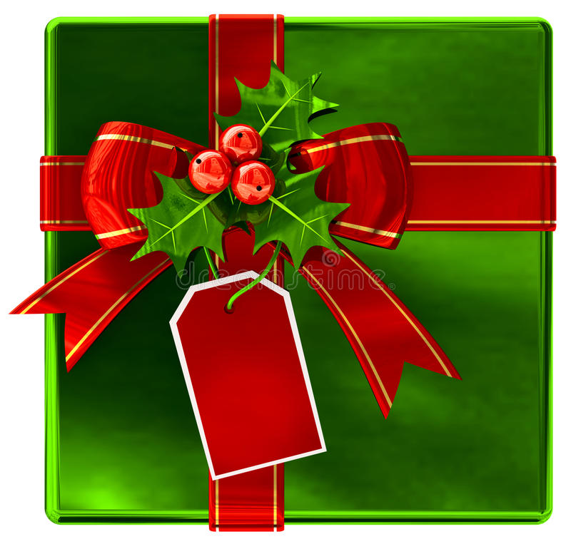 Download Christmas Green Gift With Red Ribbon And Bow Royalty Free Stock Photo - Image: 26833615