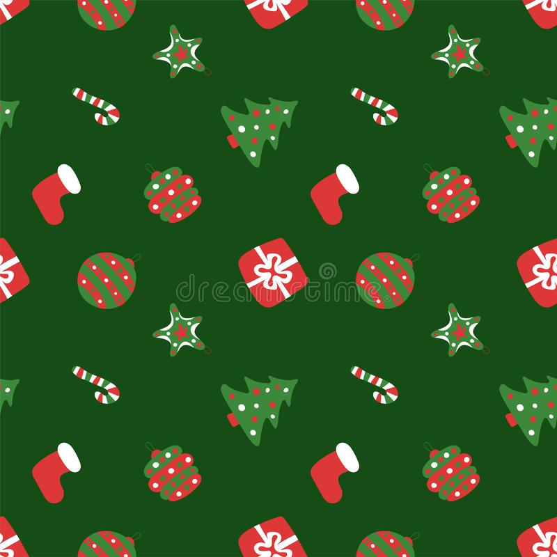 Christmas green pattern. Winter holiday wallpaper. Seamless texture for the New Year. Santa`s hat, tree, bag, gift, stick, bell vector illustration
