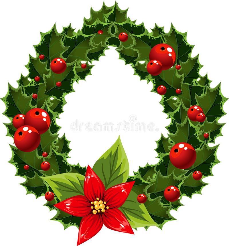 Christmas green and red embellishment with berry stock image