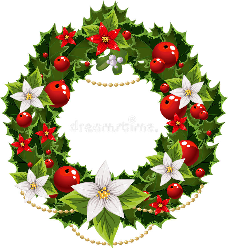 Christmas green and red embellishment with garland royalty free stock photos