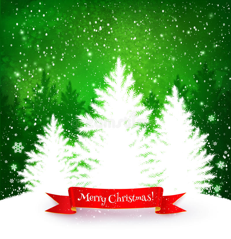 Christmas green and white background stock illustration