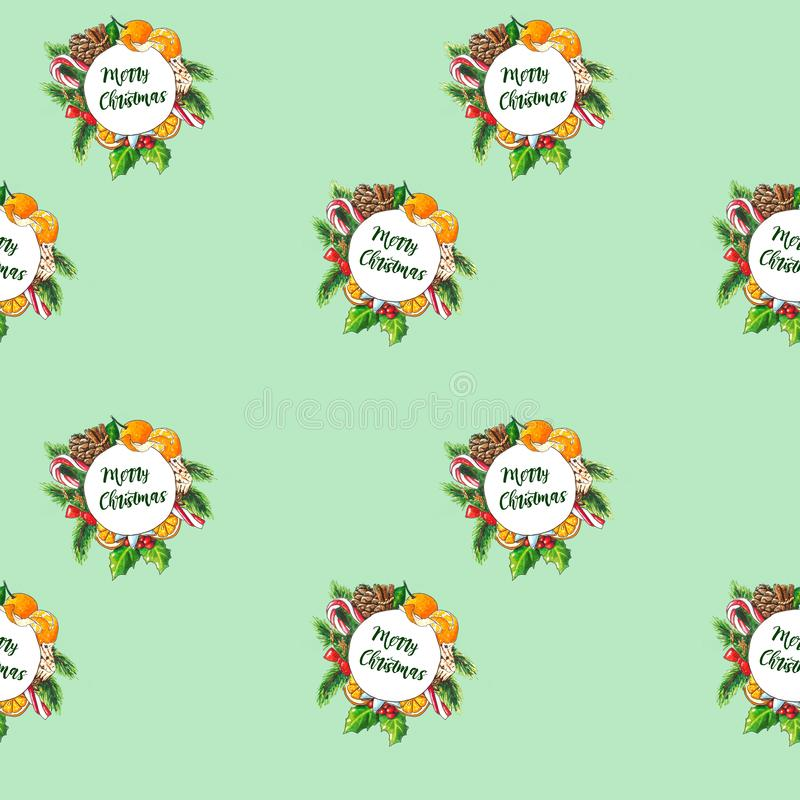 Hand drawn Christmas wreath on green. Seamless background vector illustration