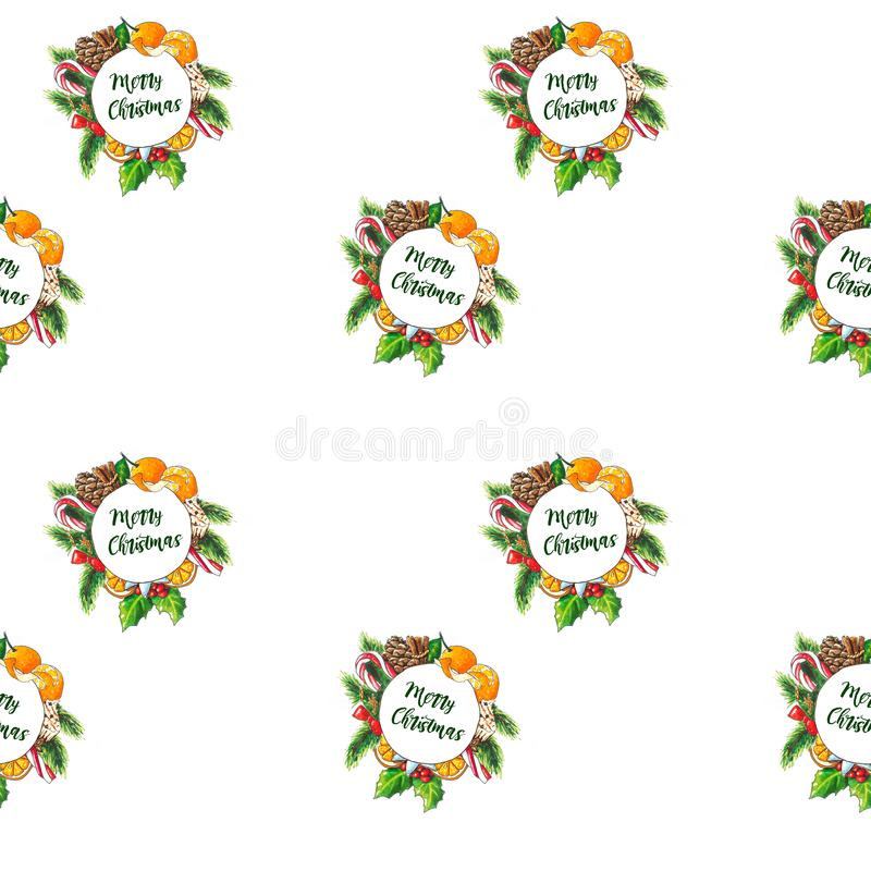 Hand drawn Christmas wreath on white. Seamless background vector illustration