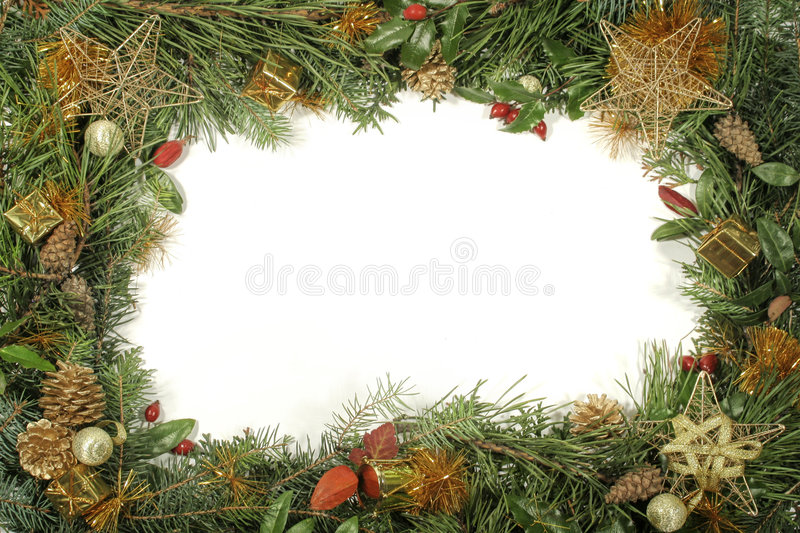 Christmas Greenery And Decorations Stock Photography