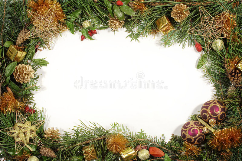 Christmas greenery and decorations stock image