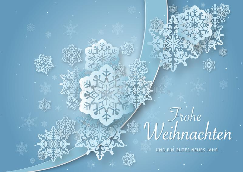 Christmas Greeting with Abstract Paper Snowflakes stock illustration